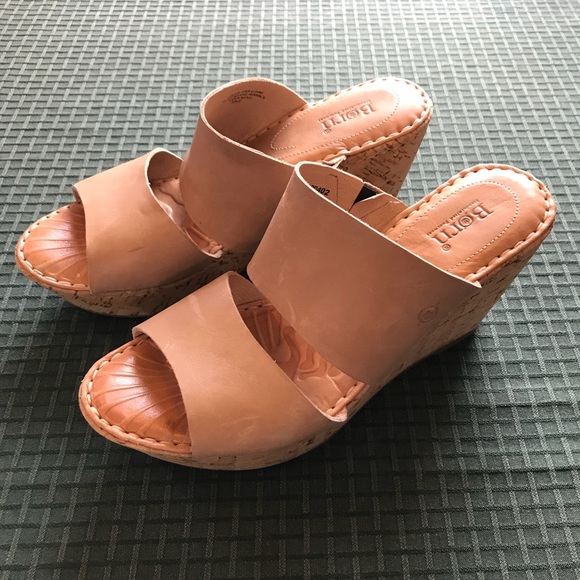 592e96e5cc61 Born leather   cork platform wedge slip-on sandals